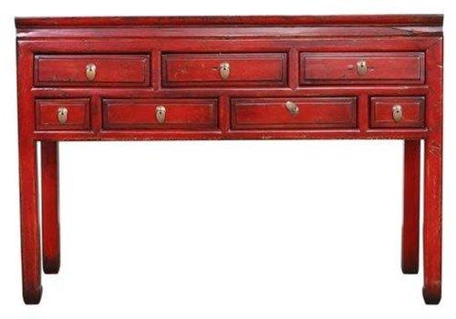 Fine Asianliving Antiker Chinesischer Konsolentisch Beistelltisch Vintage Rot