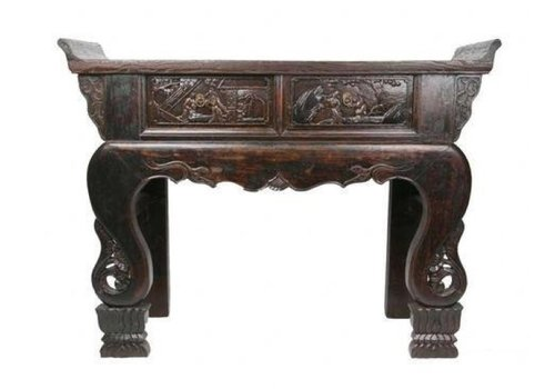 Fine Asianliving Antieke Chinese Bijzettafel Handgesneden Hardhout