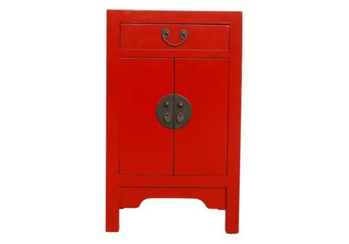 Fine Asianliving Chinese Bedside Table Nightstand Cabinet W42xD35xH70cm Lucky Red