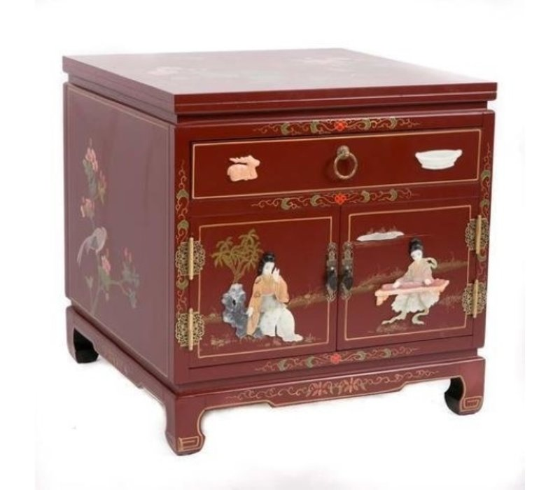 Chinese Bedside Table Red Brown Handmade Stones and Shells