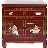 Fine Asianliving Chinese Bedside Table Red Brown Handmade Stones and Shells