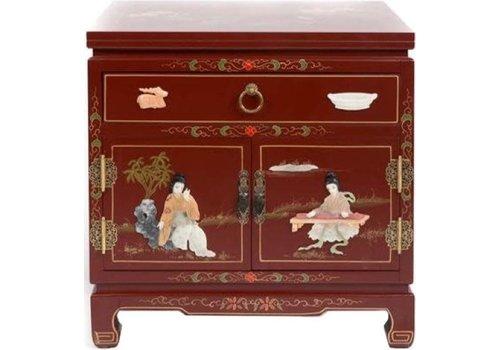 Fine Asianliving Table de Chevet Chinoise Rouge Brune Fait Main