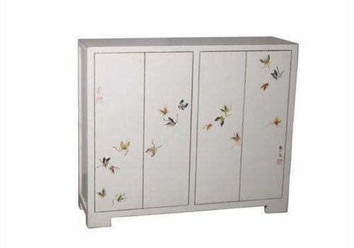Fine Asianliving Chinese Shoe Cabinet Handpainted Butterflies White W120xD35xH99cm