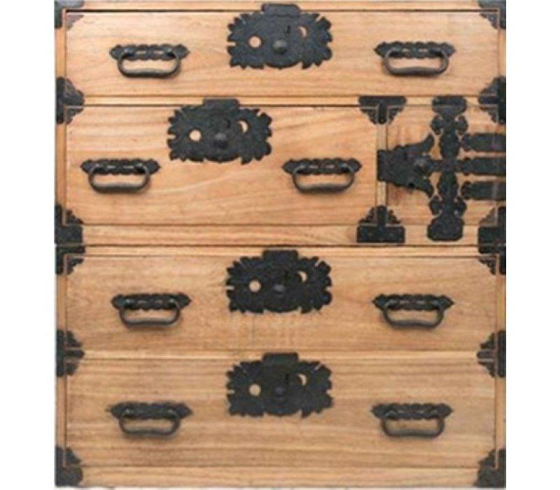 Cassettiera Giapponese Antico Tansu Ko-dansu Marrone Chiaro