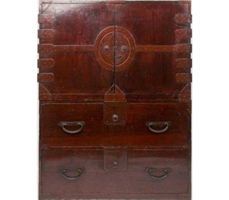 Antique Japanese Closet Isho-dansu Tansu Dark Brown