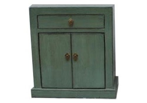 Fine Asianliving Antique Chinese Cabinet Glassy Mint Green W62xD37xH70cm