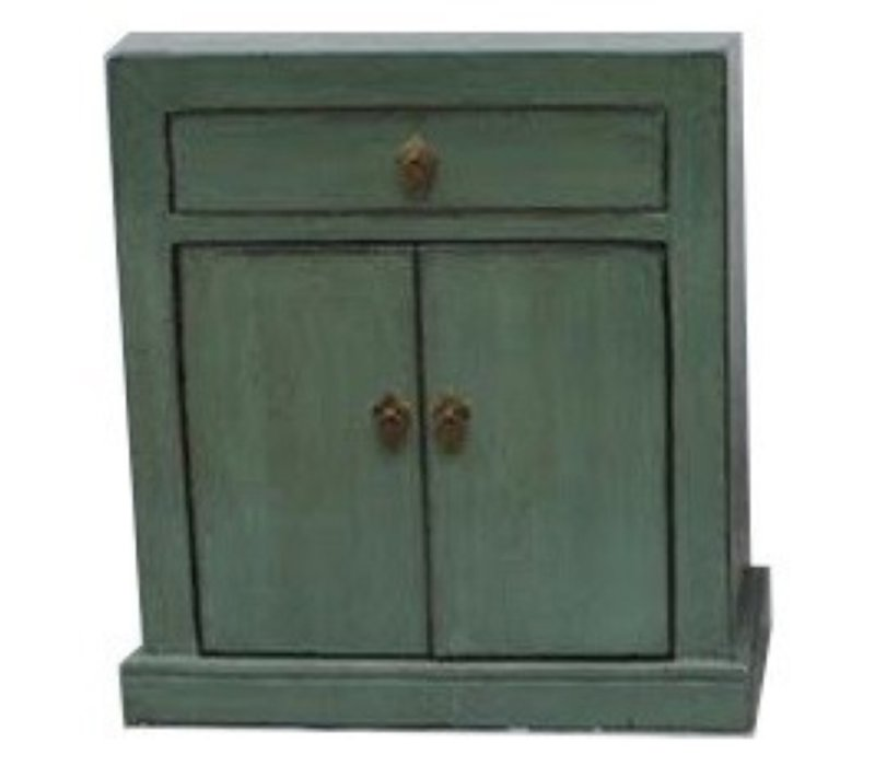 Antique Chinese Cabinet Glassy Mint Green W62xD37xH70cm
