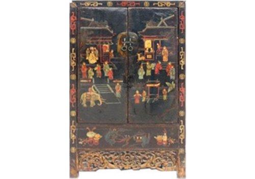 Fine Asianliving Armario de Boda Chino Antiguo 125YRS Pintado a Mano Anch.117 x Prof.46 x Alt.187 cm