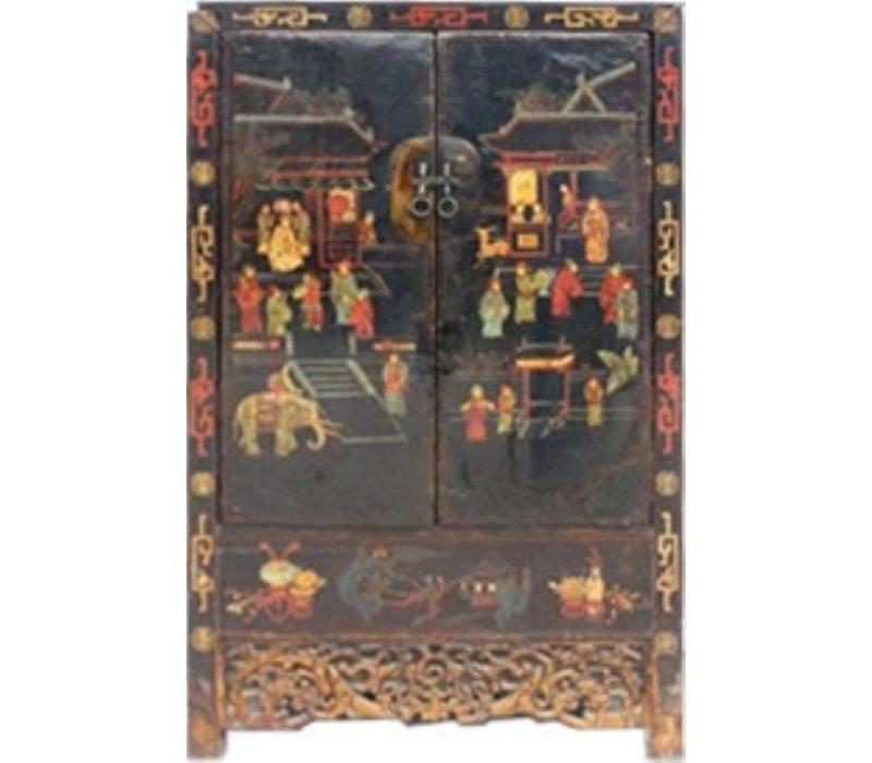 Antieke Chinese Bruidskast 125jaar Handgeschilderd B117xD46xH187cm