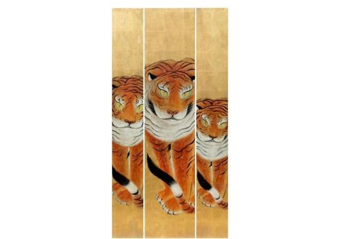 Fine Asianliving Handmade 3 Tigers Painting of Gold Leaf