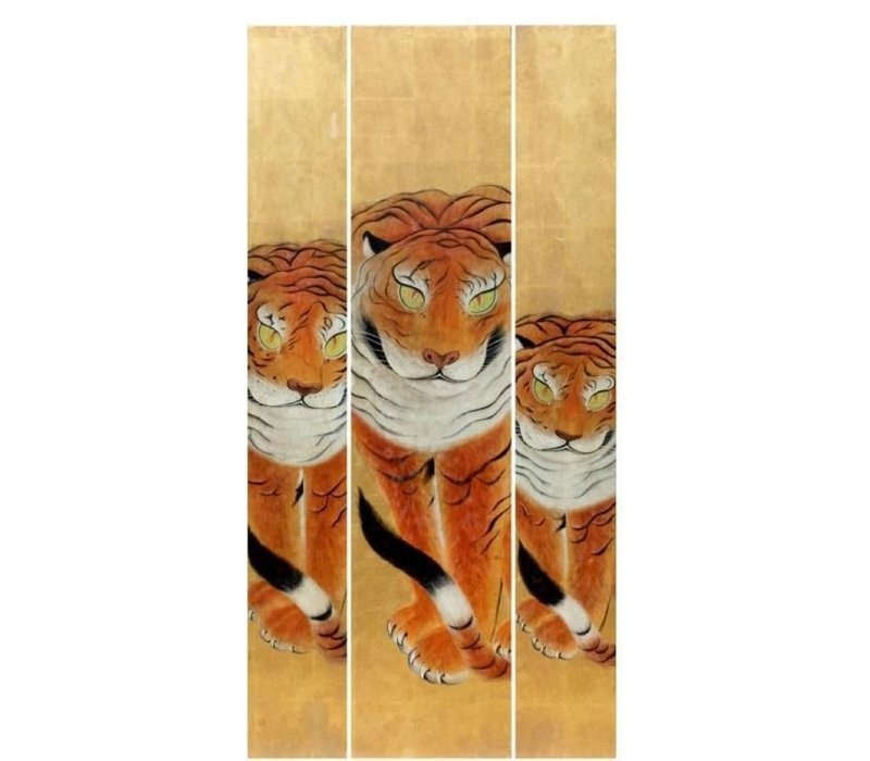 Handmade 3 Tigers Painting of Gold Leaf