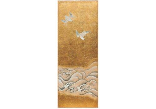 Fine Asianliving Wanddecoratie Bladgoud en Handgeschilderde Vogels