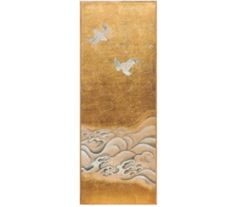 Wanddecoratie Bladgoud en Handgeschilderde Vogels