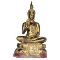 Sukhothai Zittende Buddha Zwart Rood Goud Handgemaakt Van Stevige Boomstam L75xB40xH92cm