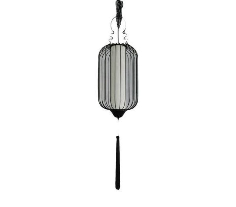 Chinese Hanging Lamp Metal Beige and Black with Rope