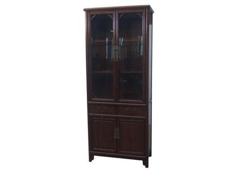 Fine Asianliving Chinese Bookcase Glass Door Cabinet Brown W80xD39xH190cm