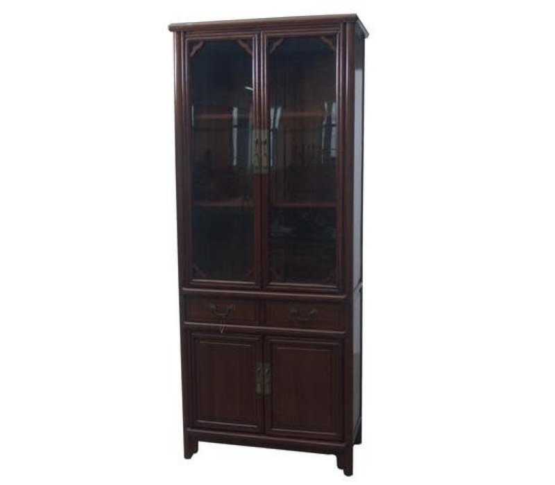 Chinese Bookcase Glass Door Cabinet Brown W80xD39xH190cm