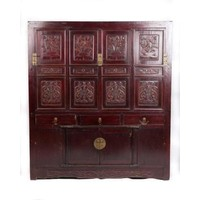 Antique Chinese Cabinet Handcrafted Floral Carvings W156xD52xH174cm
