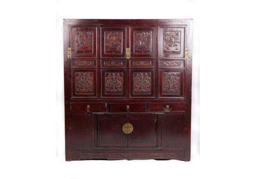 Fine Asianliving Antieke Chinese Kast met Bloemen Gegraveerd B156xD52xH174cm