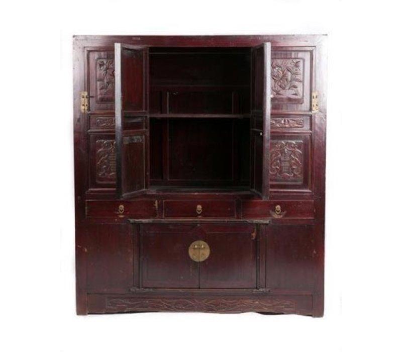 Armoire Chinoise Antique Fait Main Floral Découpages L156xP52xH174cm