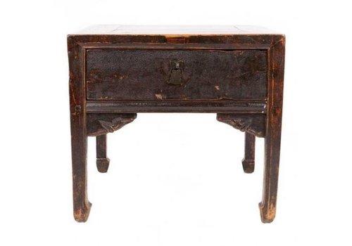 Fine Asianliving Antieke Chinese Kleine Tafel Handgesneden Ontworpen Bruin