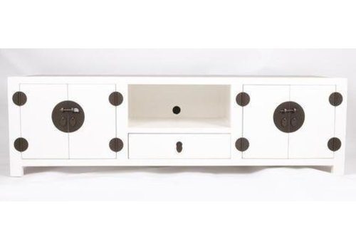 Fine Asianliving Chinese TV Stand Handbraided Bamboo White