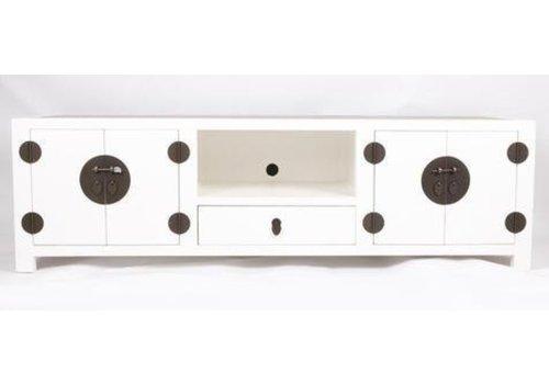 Fine Asianliving Mobile TV Cinese con Piano Tavolo in Bambù Bianco