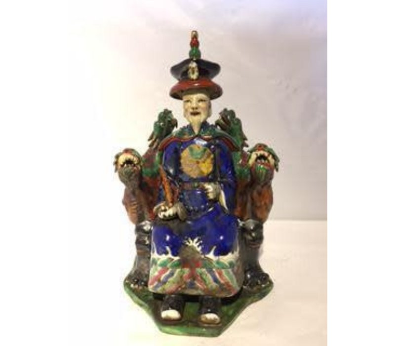 Chinese Emperor Dragon Handmade Porcelain Blue