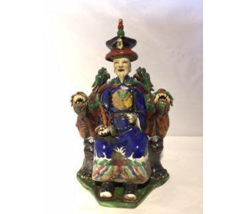 Chinese Keizer Draak Handgemaakt Porselein Blauw