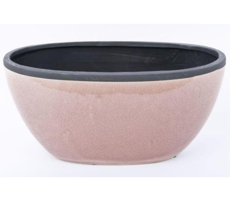 Container Oval Crackle Pink