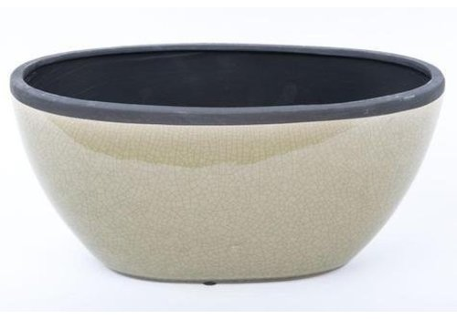 Fine Asianliving Fruit Bowl Oval Craquele Grey