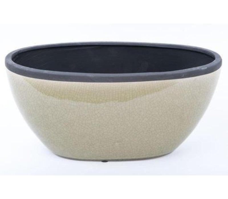 Oriental Fruit Bowl Handmade Craquelé Mint