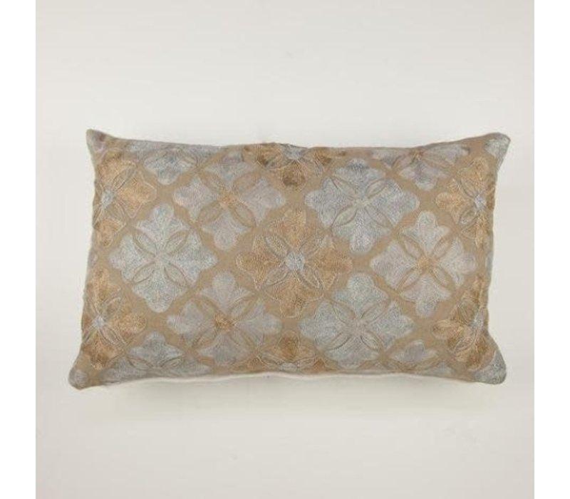 Kussen Bloementegels Oblong Goud 30 x 50 cm