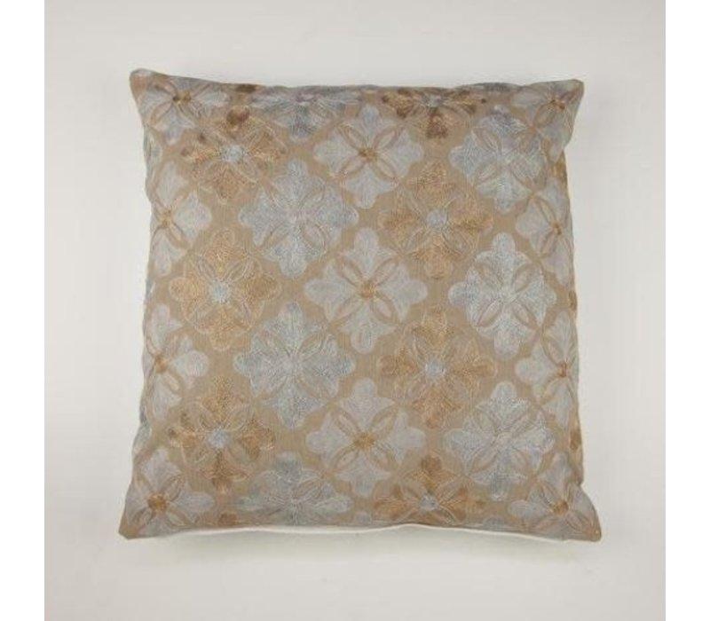 Cushion flower tiles gold 45 x 45 cm