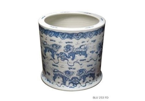 Fine Asianliving Porcelain Flowerpot with Hand-painted Foo dogs