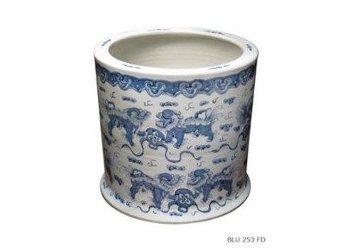 Fine Asianliving Porseleinen bloempot met Handgeschilderde Foo Dogs