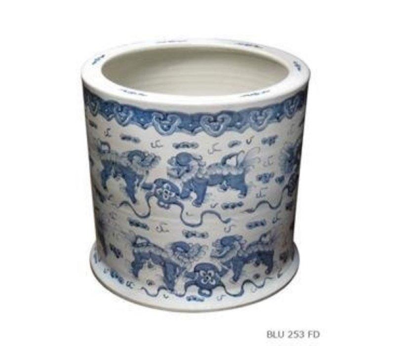 Pot de Fleur en Porcelaine Lion Gardien Chinois Peint à la Main
