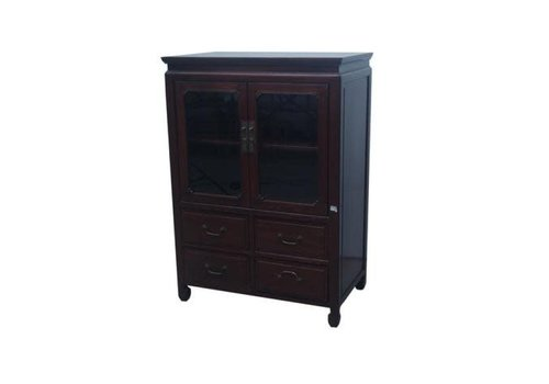 Fine Asianliving Chinese Bookcase Glass Door Cabinet Brown W82xD48xH115cm