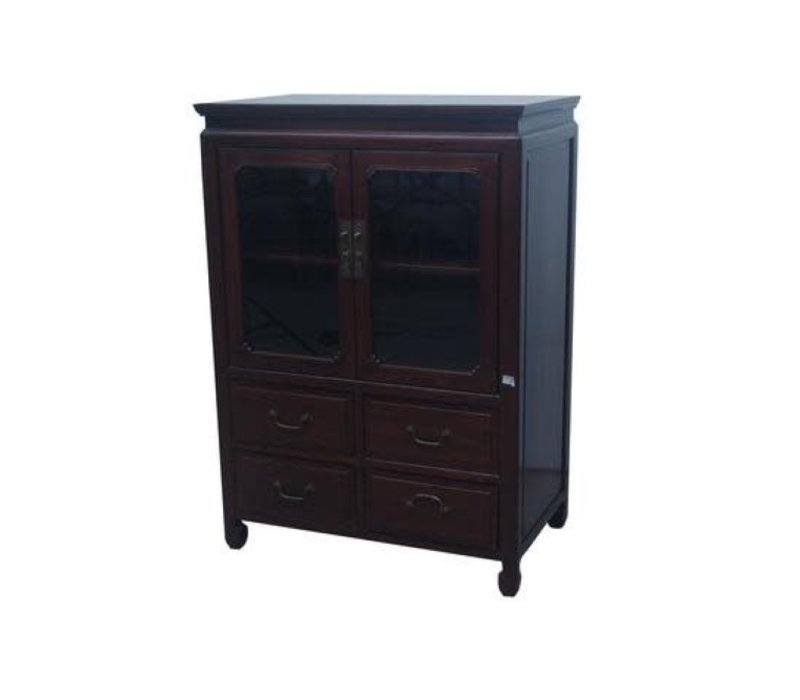 Chinese Bookcase Glass Door Cabinet Brown W82xD48xH115cm