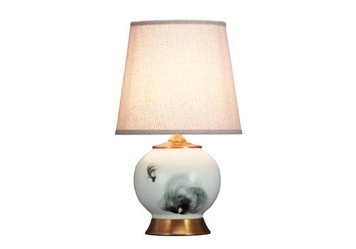 Fine Asianliving Lámpara de Mesa de Porcelana Paisaje de Peces Base de Bronce D.28xA47cm