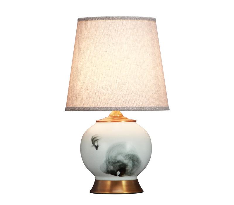 Chinese Tafellamp Gewassen Inkt Vissen Bronzen Voet D28xH47cm