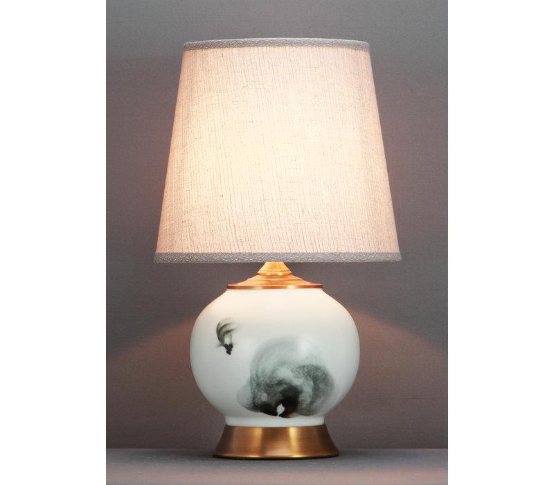 Lampada da Tavolo Cinese Pesce Inchiostro Base in Bronzo D28xA47cm