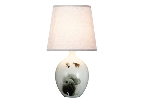 Fine Asianliving Lampada da Tavolo Cinese in Porcellana Pesce Inchiostro D28xA53cm