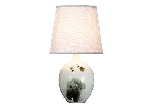 Fine Asianliving Lámpara de Mesa de Porcelana Paisaje de Peces D.28xA53cm