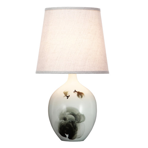 Fine Asianliving Chinese Table Lamp Fish Scenery D28xH53cm