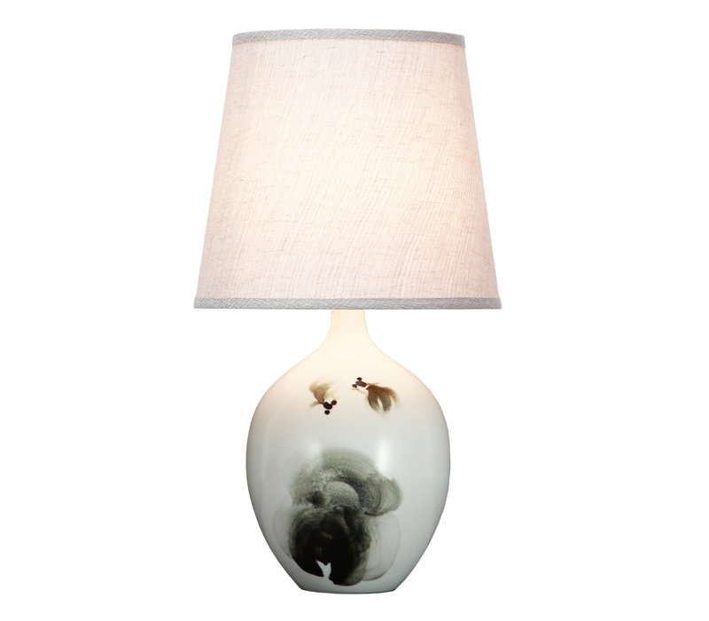 Chinese Table Lamp Fish Scenery D28xH53cm