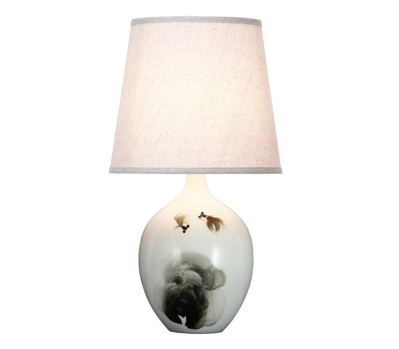 Lampada da Tavolo Cinese in Porcellana Pesce Inchiostro D28xA53cm