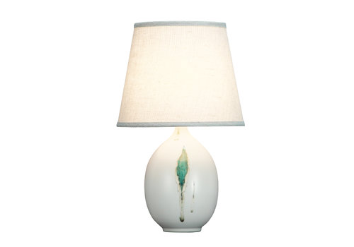 Fine Asianliving Lámpara de Mesa de Porcelana Contemporánea Hojas D.28xA46cm