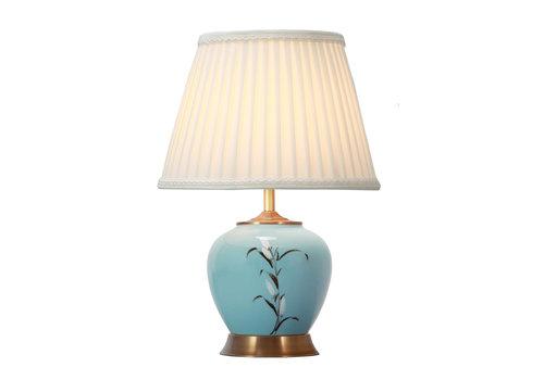 Fine Asianliving Chinesische Tischlampe Weiss Blüten Bronzebasis D36xH54cm