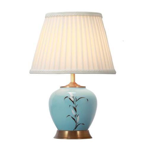 Fine Asianliving Chinese Table Lamp White Blossoms Bronze Base D36xH54cm
